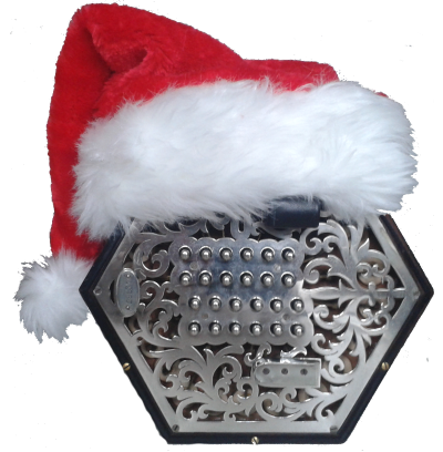 Concertina in a Christmas hat